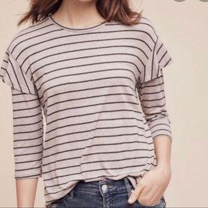 Dolan striped knit 3/4 sleeve ruffle shoulder tee